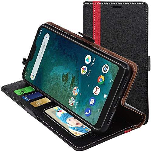 ebestStar - Funda Compatible con Xiaomi Mi A2 Lite Carcasa Cartera Cuero PU, Funda Libro Billetera Ranuras Tarjeta, Función Soporte, Negro/Rojo [Phone: 149.3 x 71.7 x 8.8mm, 5.84'']