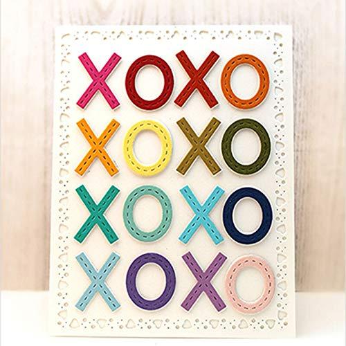 Yuanrui Xoxo Metall-Stanzschablonen für Bastelarbeiten, Scrapbooking, Valentinstag, dekorative Prägung, Papier, Karten, Bastelvorlage