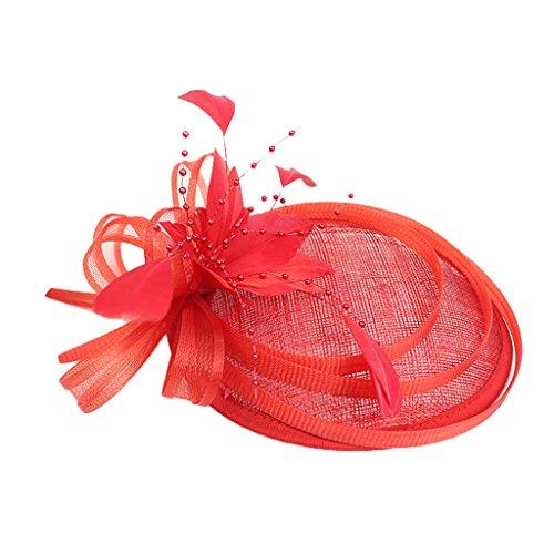 MagiDeal Fascinator Mariage Chapeau Bibi à Plume Elégant Accessoire Cheveux Femme - Rouge