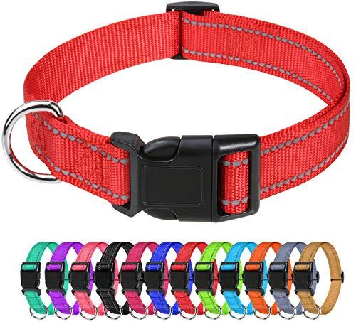 TagME Nylon Hundehalsband, Verstellbares Reflektierendes Hundehalsband mit Sicherheitsschnalle für Extra Kleine Hund, Rot, 1.5cm Breite