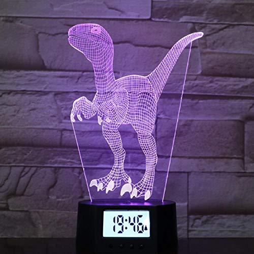 3D Nachtlicht Wecker Basis, Bunte Farbverlauf Schlafen Tischlampe, Dinosaurier Geformte Led-Lampe