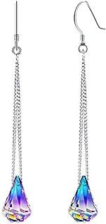 Swarovski Earrings, Sterling Silver Crystals Drop Dangle Earrings for Women Color Changing Diamond