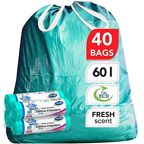 Stella Bio Müllbeutel - 60 L - 40 Stück - Umweltfreundlich und recycelbar - Mülltüten aus Kunststoffabfällen - Ultra-Starke und Flexible Müllsäcke - Frischer Duft und Minzfarbe - mit Zugband