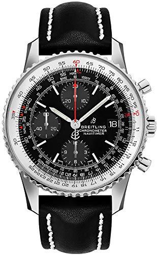 Breitling Navitimer 1 Chronograph 41 Stahl Herren-Armbanduhr auf schwarzem Lederband A13324121B1X1