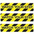 """3 Pack Watch Your Step Non-Slip Stair Warning Sticker Treads Adhesive Tape Help Prevent Falls Anti Slip Abrasive Treads for Workplace or Home Safety Wet Floor Caution, 6"""" x 24"""""""