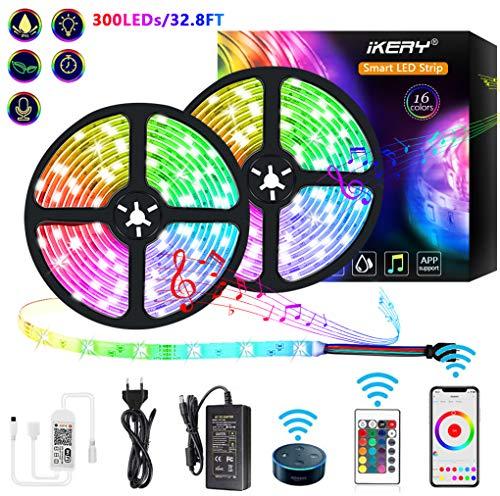 Alexa Led Stripe Leuchtstreifen Lichtleisten - 32.8ft Phone APP Steuerbar Musik RGB Led Lichtband Streifen,Wasserdichte Smart WiFi Led Lichterkette Leiste, Sprachsteuerung mit Alexa,GoogleAssistant