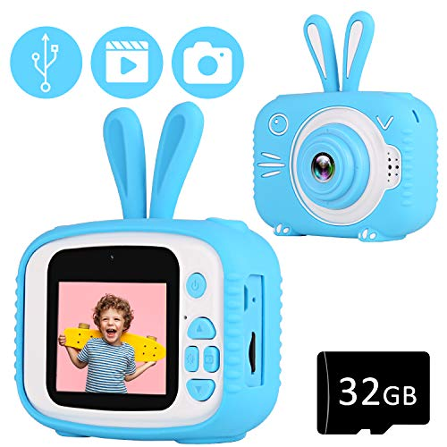 YOUSAMS Kids Selfie Camera Toys Gifts for Girls Boys Age 2-12 Year Old Kids Camera Digital Camcorder 2.0 Inch IPS Screen with 32GB Card for Toddler Children Christmas Best Birthday Gifts (Blue)