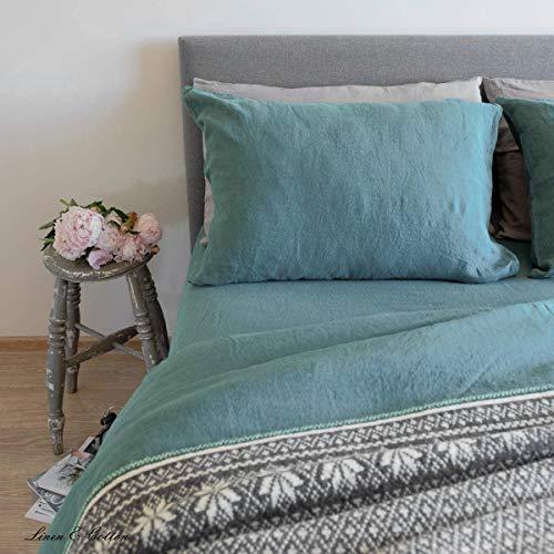 Linen & Cotton Funda de Almohada Alicia, 100% Lino Lavado a La Piedra - 50 x 70cm (Verde Menta)