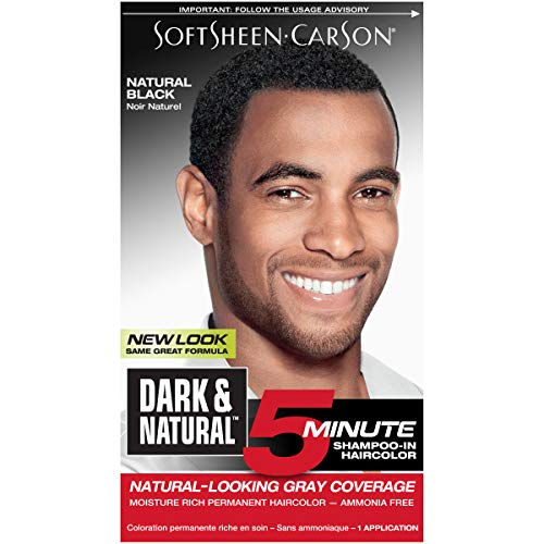 Hair Color for Men by SoftSheen Carson Dark and Natural, 5 Minutes, Natural Looking Gray Coverage for up to 6 weeks, Shampoo-in Permanent Hair Dye, Natural Black, Ammonia Free, 1 Count