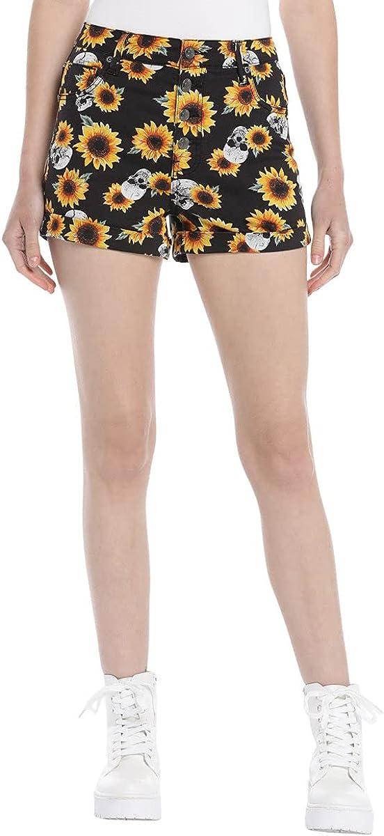 Hot Topic HT Denim Sunflowers & Skulls Ultra Hi-Rise Button-Front Shorts