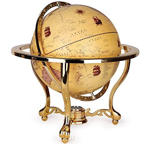 FACAI Globus Antiker Stil Aluminiumlegierung Halterung Kompass-Funktion Rundum-Rotation Geeignet Für Innenhauptdekoration Und Büro