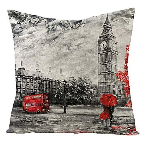 AtHomeShop 40 x 40 cm Fundas de cojín decorativas en lino con diseño de Londres, funda de cojín cuadrada suave y cómoda, funda de cojín para dormitorio, sofá, decoración, color gris y rojo, estilo 1