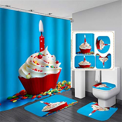 xingy&eshoop Duschvorhang-Kuchen Kerze Verdickt Wasserdicht Und Schimmelresistent Badezimmer, Hotel Polyester Stoff Vierteiliges Badezimmer 120X180Cm