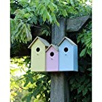 Garden Mile® Triple 3 In 1 Colourful Wooden Garden Birdhouse Nesting Boxes With Rear Doors For Easy Cleaning Predator Proof To Accomodate Small Birds Sparrows, Tits Robin Nester