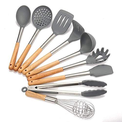 Küchenutensilien, beste Küche aus Holz Geschirr Set, 9-Koch- und Backzubehör-Sets Edelstahl Griff Silikon Utensil Set Spachtel Werkzeuge Küchenutensilien, 9pcs4 zhihao (Color : 9pcs)