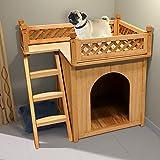 Dog Cat House Wooden Kennel Garden Puppy Outdoor Animal Hide Shelter