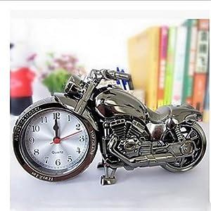 MGS-Reloj@Relojes de cuarzo reloj despertadores cool desktop timer motos diseño , black