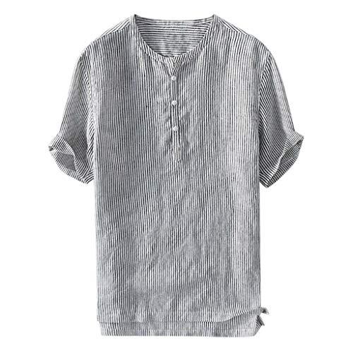 LHWY Camisa de Hombre Tops Shirt 2019 New Camisa de algodón con botón de Raya, Transpirable, Fina y Fresca, para Hombres de Verano, Manga Corta,Negro,M