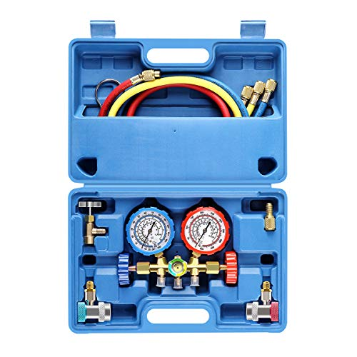 3 Way AC Diagnostic Manifold Gauge Set for Freon Charging, Fits R134A R12 R22 and R502 Refrigerants, with 5FT Hose, ACME Tank Adapters, Adjustable Couplers and Can Tap
