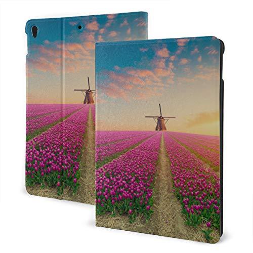 Ipad Covers For Women 2019 Ipad Air3/2017 Ipad Pro 10.5 Inch Case/2019 Ipad 7th 10.2 Inch Case Wooden Windmill Flower Road Ipad Cover Kids Auto Wake/sleep