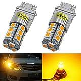 Paquete de 2 3157 3047 3057A Luz LED ámbar/Amarilla 12V-DC Juego de 5050 de 18 SMD 3157A Reemplazo Regulable de la Base para Cola Lámpara de Giro Luz de Señal de Giro Lámparas de Estacionamiento