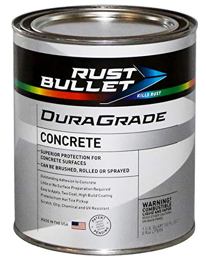 Rust Bullet DuraGrade Concrete High-Performance Easy to Apply Concrete Coating in Vibrant Colors for Garage Floors, Basements, Porch, Patio and More.- (Quart, Concrete Grey)