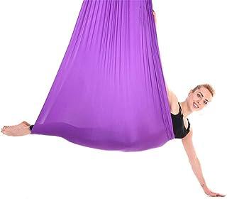 Haofy 2.8m Durable Elástico Aéreo Yoga Hamaca Columpio Accesorio de Entrenamiento de Fitness Púrpura Oscuro para antigravedad Techo Colgante Eslinga de Yoga(Púrpura)