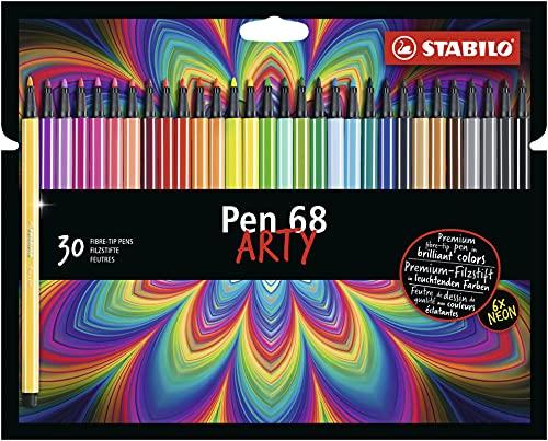 Caneta Hidrográfica Stabilo Pen 68 Arty, Estojo com 30 cores