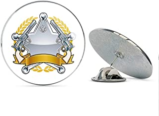 BRK Studio Simple Silver Sheriff Star Badge with Golden Guns and Ribbon Cartoon Icon Round Metal 0.75