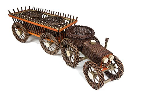 CORVUS Traktor mit Leietrwagen aus Weide Gartendeko Korbgeflecht Blumendeko Blumentopf Weidenkorb Schubkarre zum Pflanzen für Garten und Tarasse