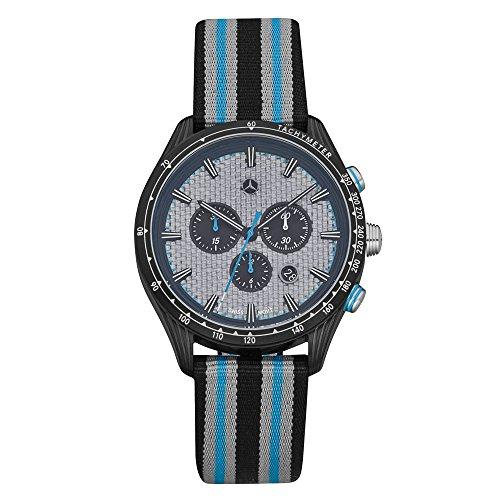 Mercedes Reloj de pulsera para hombre de Benz, cronógrafo, de acero inoxidable, deportivo, 2018 pulgadas, esfera de carbono, plateado/azul