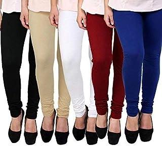 Swastik Stuffs Women's Cotton Lycra Leggings Combo Offer for Women (SSLBSWMBlu5_Black.Skin,White,Maroon,Blue_Free Size)(Pa...
