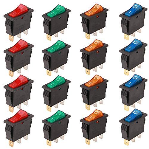 RUNCCI-YUN 16Pcs Boton Interruptor Rocker,Mini Interruptores Basculantes,16 A 250 V AC 3 Pines interruptor SPST para Auto Vehiculo Barco