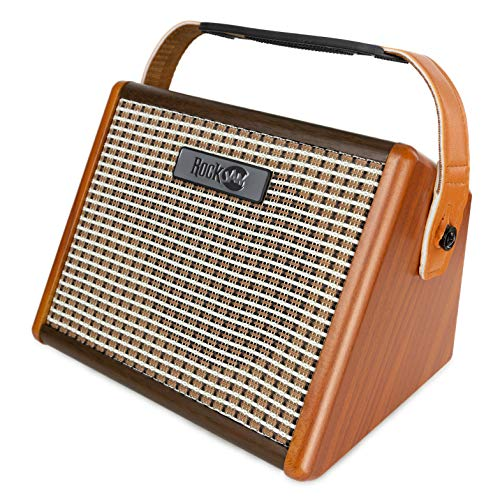 RockJam Busker 15 Watt wiederaufladbare Gitarrenverstärker mit bluetooth und Mikrofoneingang