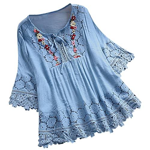 Camicette Top Donna Vintage Pizzo Patchwork Bow Scollo a V Tre Quarti T-Shirt (XL,1blu)