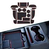 Muchkey Para 2017 2018 CX-5 CX5 Interior Puerta Seguridad Pad Cup Alfombrillas, Alfombrilla de Goma Antideslizante Alfombrillas Puerta Interior 18 piezas por juego Rojo