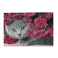300ピース ジグソーパズル パズル 猫と赤の花 (26 X 38cm)