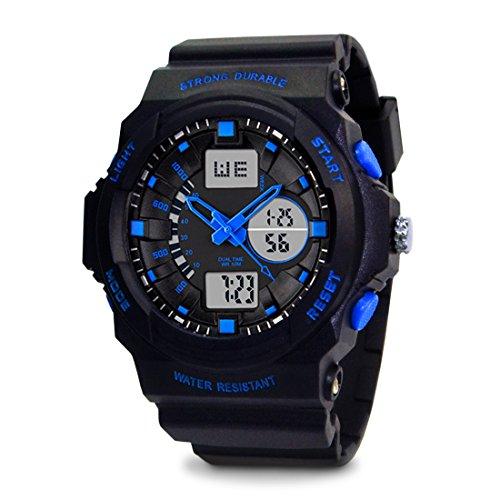 TOPCABIN Jungen Uhren Herren Kinder Armbanduhr Analog Digital Wasserdicht mit Wecker/Timer/LED-Licht/Silikon band,Elektronische Stoßfest Sports Uhren für Jungen Blau