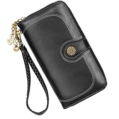 Portafoglio in pelle da donna di grande capacità Portafoglio di alta qualità borsa, con molti scomparti e 11 porta carte di credito lungo Portafoglio. (Classico Nero)