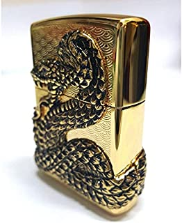 Zippo Snake Coil Gold GD Lighter Genuine Authentic Original Packing 6 Flints Set