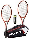 HEAD Radical Lot de 2 raquettes de tennis pour adulte avec sac de tennis Head Djokovic et 3 balles de tennis Head Team