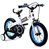 Royalbaby Unisex Youth Button girl's boy's freestyle Kids Bike Bicycle, Blue-White, 14'