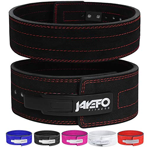 "Jayefo Genuine Leather Lever Belt for Powerlifting Men & Women 10MM Thick 4"" Wide Easy to USE Workout Deadlifts Squats (Black/Black, XS)"