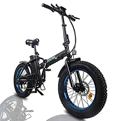"""ECOTRIC Powerful Foldable Fat Tire Bike 48V 13AH Li-ion Battery 500W Motor 20"""" x4.0 inch Fat Tire Aluminum Frame Electric Mountain Beach Snow Electric Ebike Bicycle"""