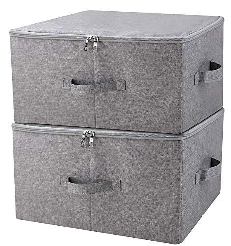 iwill CREATE PRO Gestapelte klappbare Aufbewahrungsbox mit Deckel, Gute Garderobenschublade, dunkelgrau, 2 STK