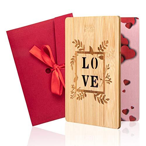 Biglietti d'auguri in legno, Biglietti d'amore fatti a mano per San Valentino Biglietti di anniversario con busta regalo per compleanno/anniversario/San Valentino/festa della mamma/matrimoni (D)