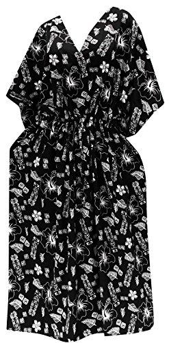 LA LEELA Mujeres caftán túnica Impreso Kimono Libre tamaño Largo Maxi Vestido de Fiesta para Loungewear Vacaciones Ropa de Dormir Playa Todos los días Cubrir Vestidos Halloween Negro_I614