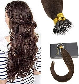Sunny 22inch Pre Bonded Human Hair Extensions Remy Brazilian Real Human Hair Nano Bead Hair Extensions Dark Brown #4 Hair Extensions Real Hair 50G