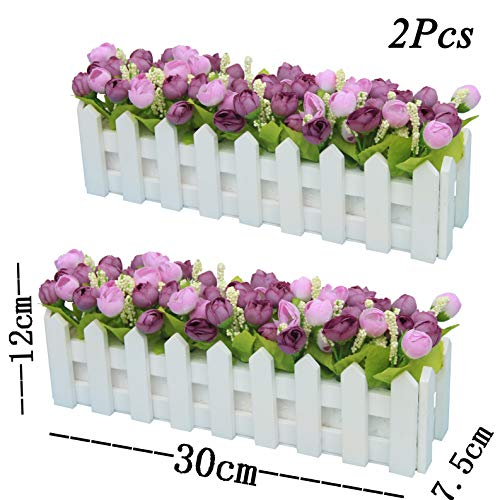 XuanMax 2pcs Roses Kunstblumen mit Zaun Kunstpflanzen mit Topf Künstliche Blumen im Pot Künstliche Pflanzen Gefälschte Topfpflanzen Bonsai Dekoartikel Ornamente 30 * 7.5 * 12cm - Lila