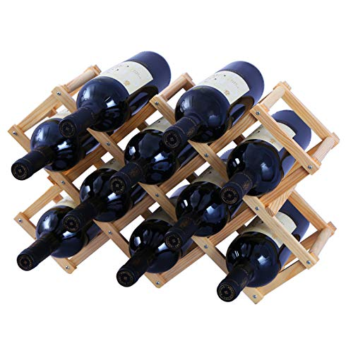 TONLEA Foldable Wooden Wine Rack Free Standing,Countertop 10 Bottles Capacity Wine Holder,Folding Wood Wine Storage Rack Display Shelves for Home Kitchen Bar Cabinet Pantry Yellow